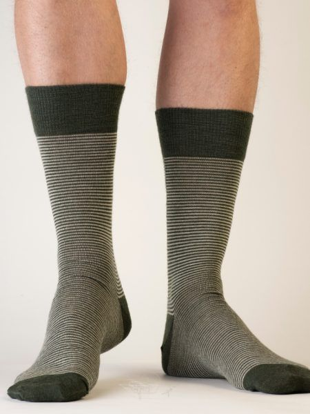 Pencil Stripe Wool Sock