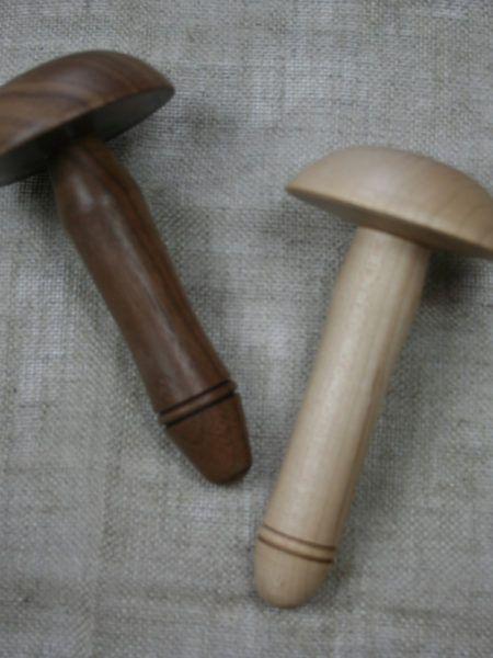 Wooden darning mushrooms