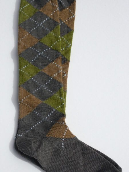 Argyle long wool sock grey brown olive
