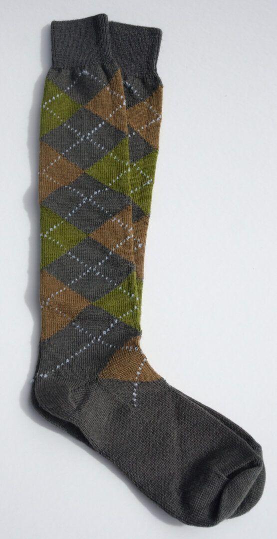 Argyle long wool sock grey brown olive