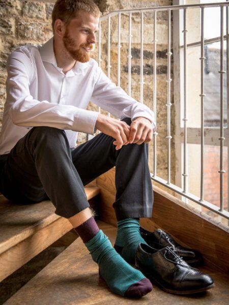 Pencil stripe merino wool dress sock